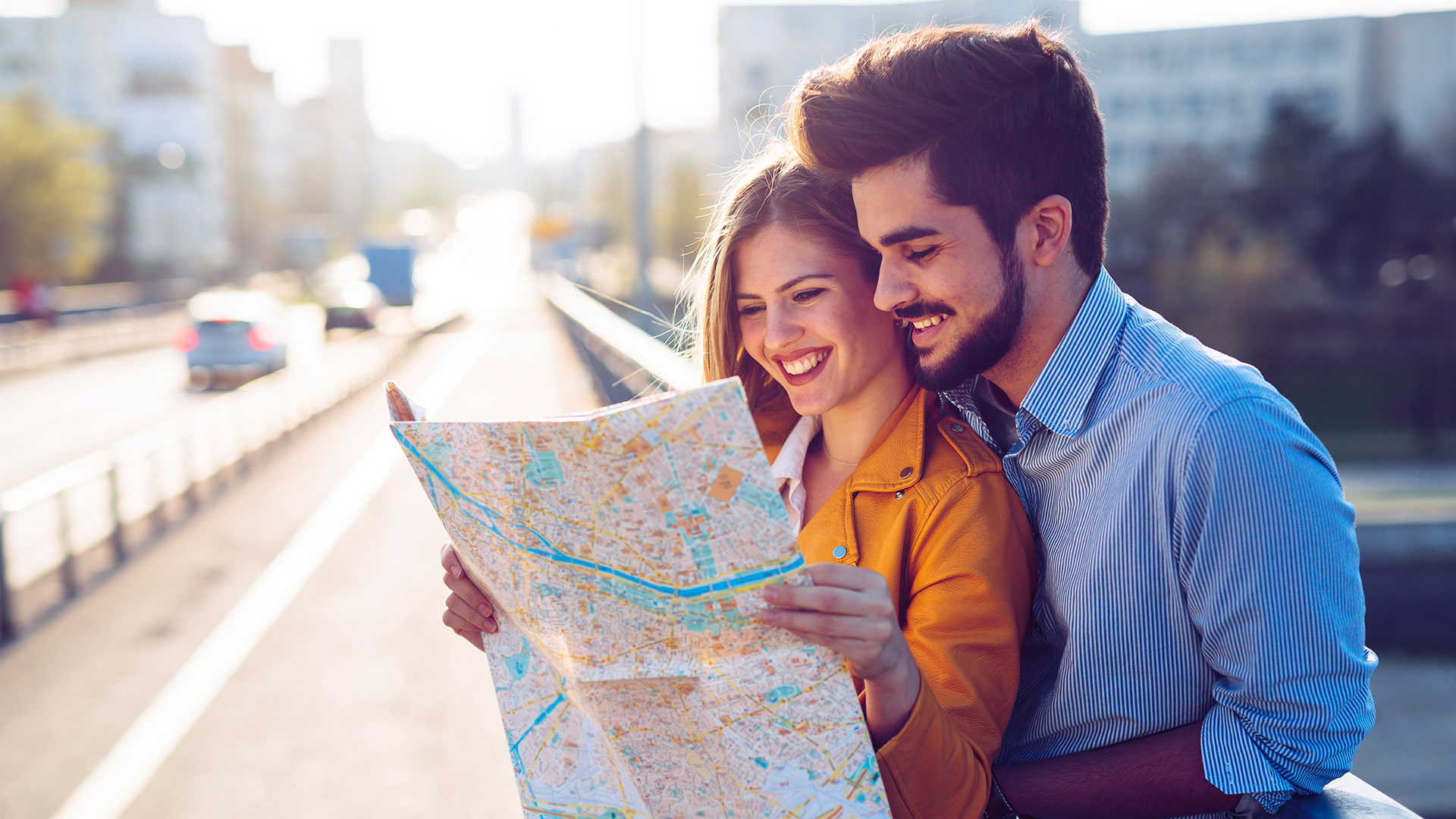 couple checking a map