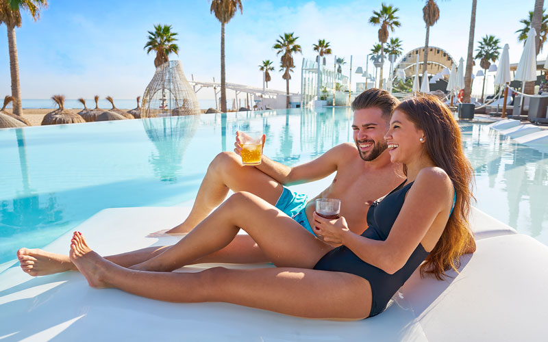 couple near the pool